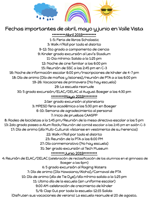 Spanish VV Important Dates for April, May, and June 2019